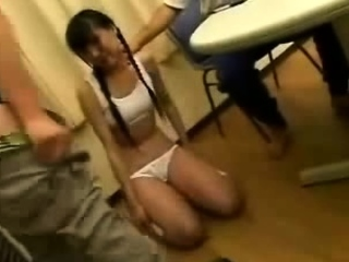 Petite Japanese teen doing..